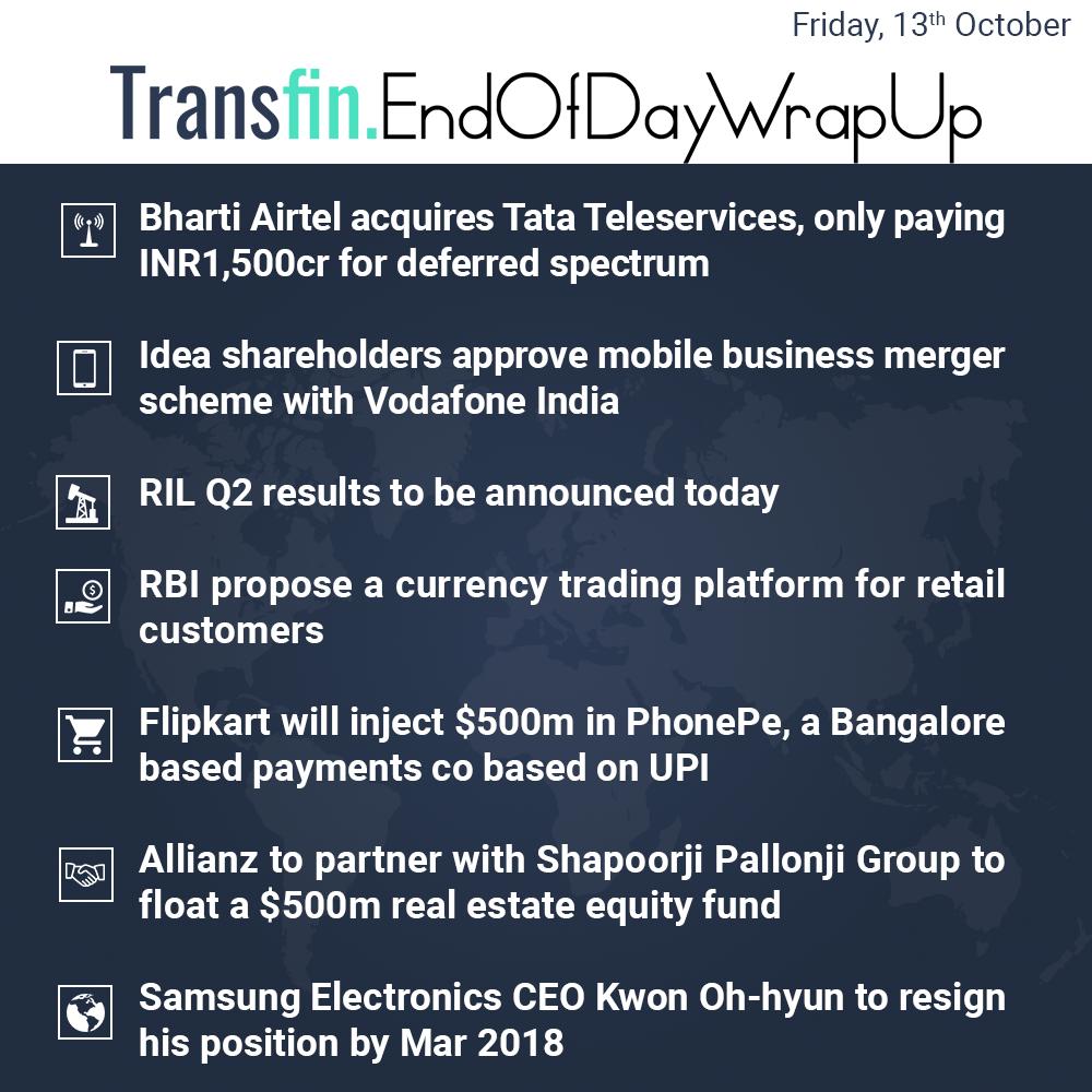 Bharti Airtel acquires Tata Tele-services, Idea acquires Vodafone, RIL Q2 results, RBI, Flipkart et ak.