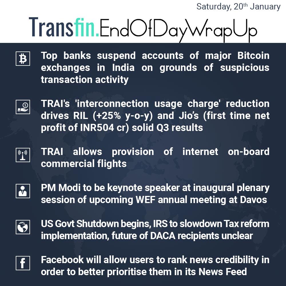End of Day Wrap-up (Saturday / January 20, 2018) #Bitcoin #TRAI #RIL #Jio #Modi #US #DACA #Facebook #Transfin