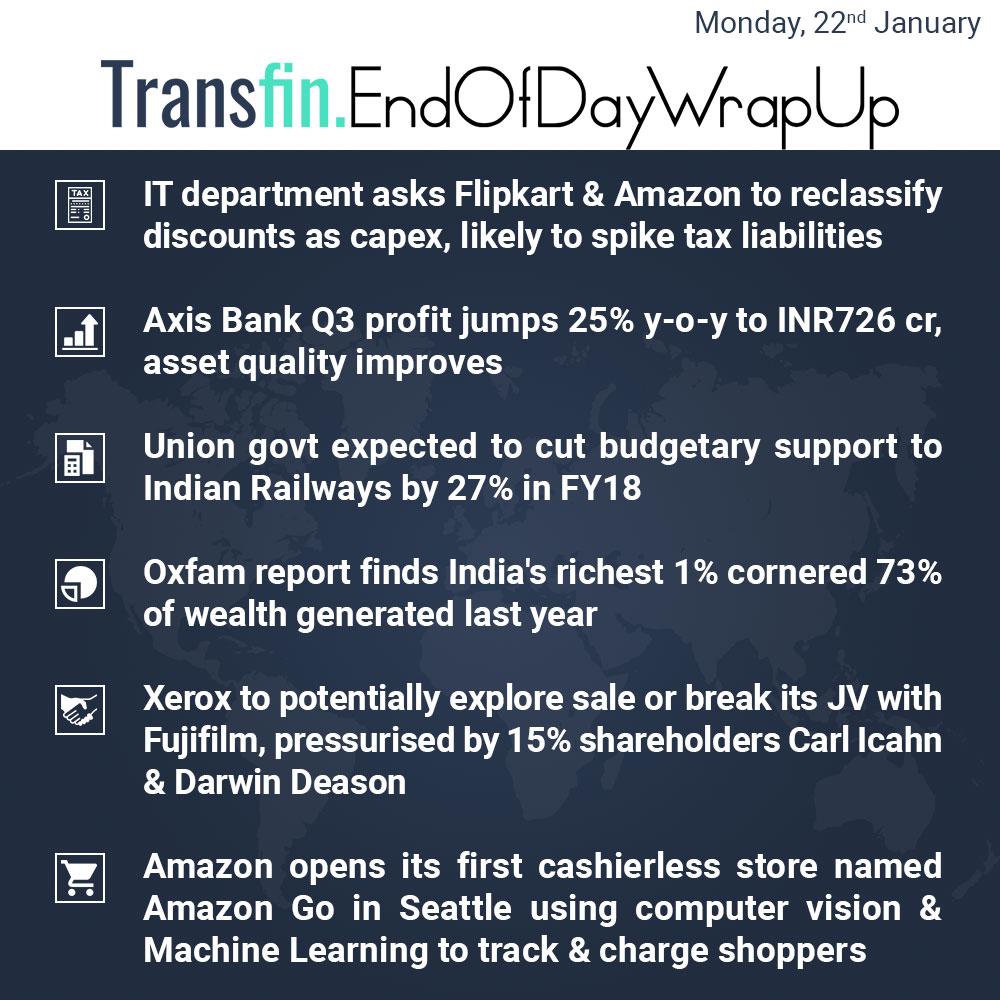 End of Day Wrap-up (Monday / January 22, 2018) #Axis #Tax #Flipkart #Amazon #Budget2018 #Railways #Oxfam #Xerox #Fujifilm #AmazonGo #Transfin