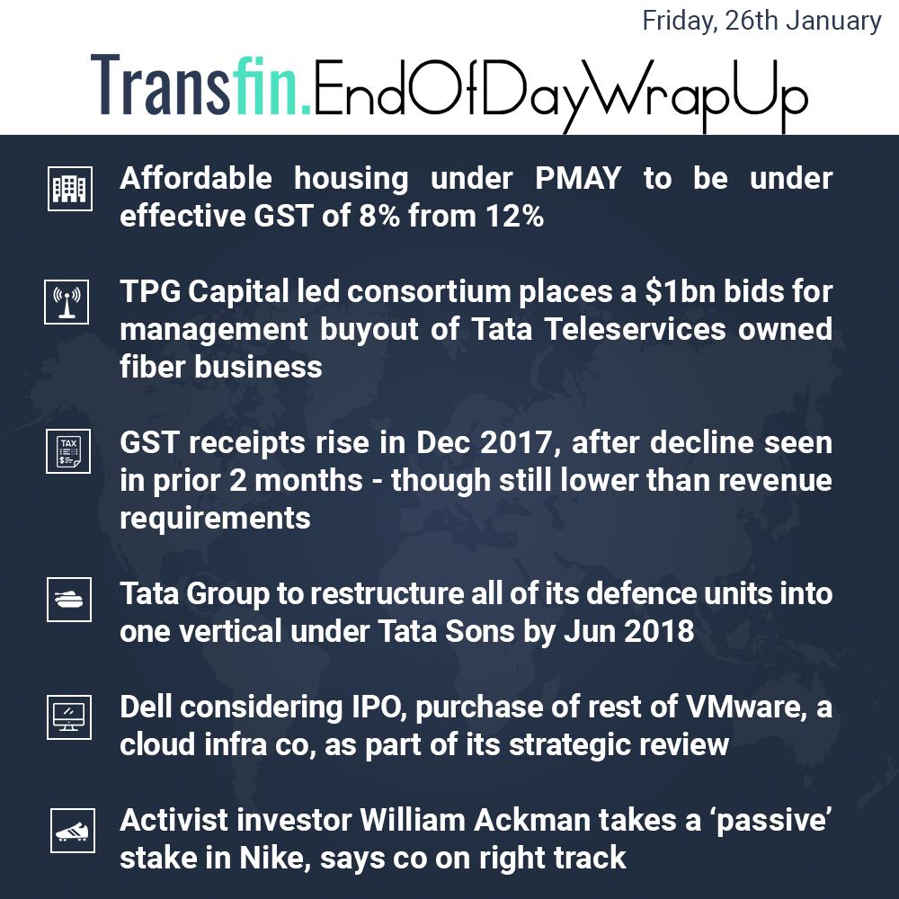 End of Day Wrap-up (Friday / January 26, 2018) #PMAY #TGPCapital #TataSons #TataTele #GST #Dell #Nike #Transfin