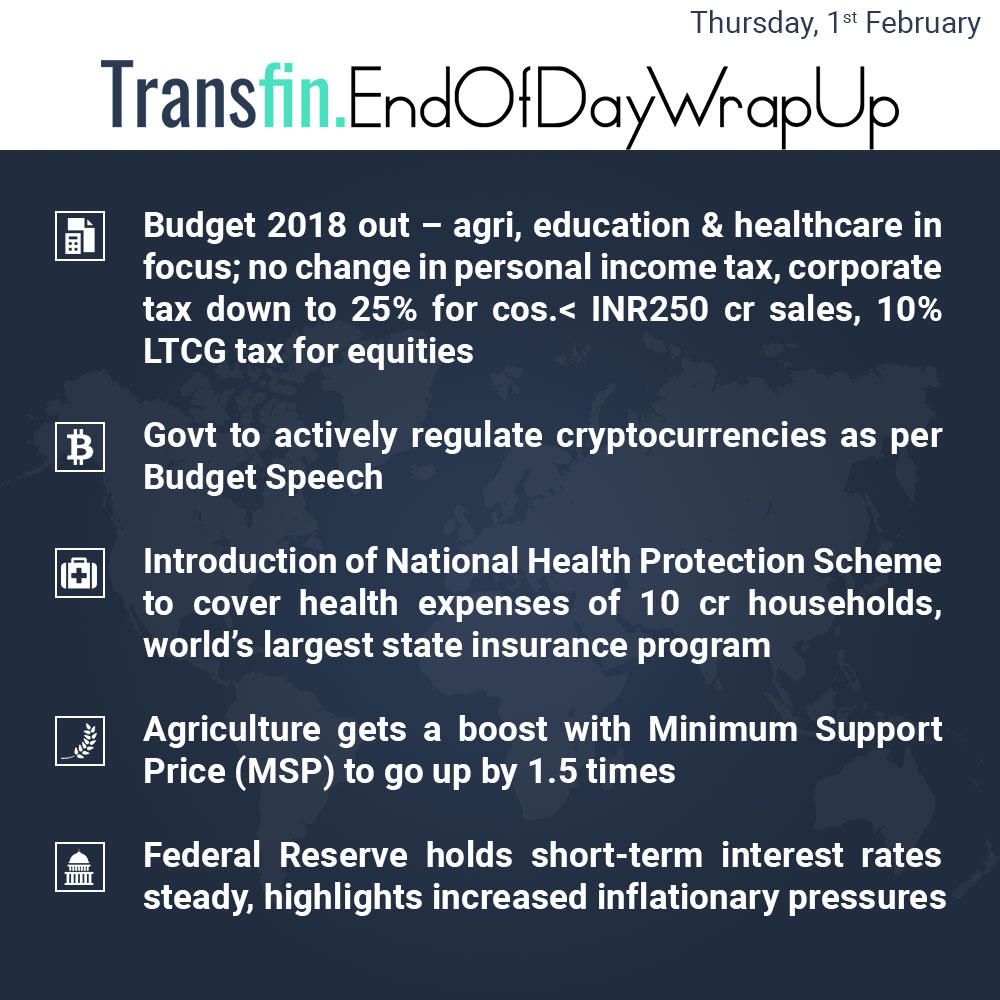 End of Day Wrap-up (Thursday / February 1, 2018) #UnionBudget2018 #Agriculture #LongTermCapitalGainsTax #HealthCare #Cryptocurrency #InterestRates #Inflation #Transfin