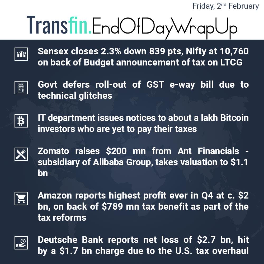 End of Day Wrap-up (Friday / February 2, 2018) #UnionBudget2018 #LongTermCapitalGainsTax #HealthCare #Cryptocurrency #Sensex #Nifty #Budget2018 #Bitcoin #Zomato #Amazon #Alibaba #Transfin