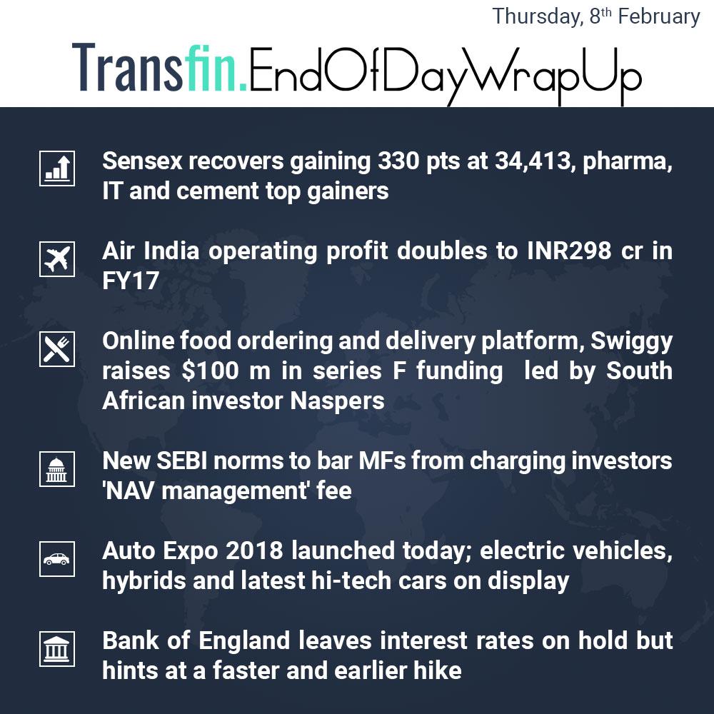End of Day Wrap-up (Thursday / February 8, 2018) #sensex #pharma #IT #AirIndia #Swiggy #SEBI #AutoExpo2018 #BoE #interestrates #Transfin