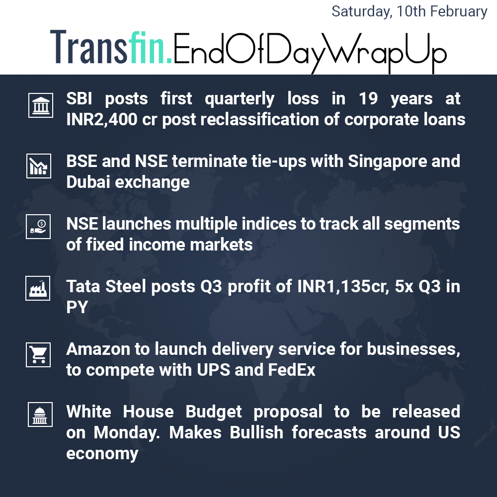 End of Day Wrap-up (Saturday / February 10, 2018) #SBI #BSE #NSE #TataSteel #US #Budget #Transfin