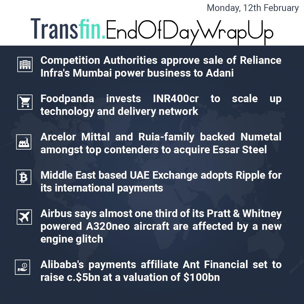End of Day Wrap-up (Monday / February 12, 2018) #Reliance #Foodpanda #ArcelorMittal #UAE #Ripple #Cryptocurrency #Bitcoin #Ethereum #Alibaba #Transfin