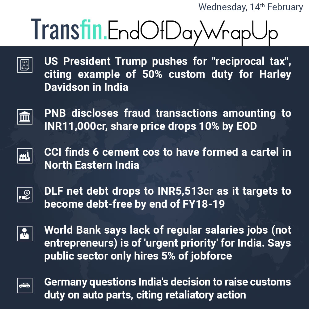 End of Day Wrap-up (Wednesday / February 14, 2018) #US #Trump #tax #HarleyDavidson #imports #PNB #WorldBank #cement #Transfin