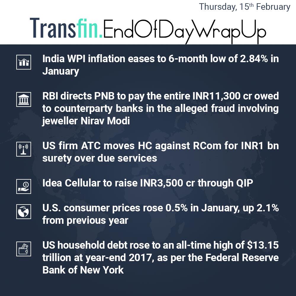 End of Day Wrap-up (Thursday / February 15, 2018) #inflation #RBI #PNB #NiravModi #ATC #Reliance #RCom #Idea #US #debt #Transfin
