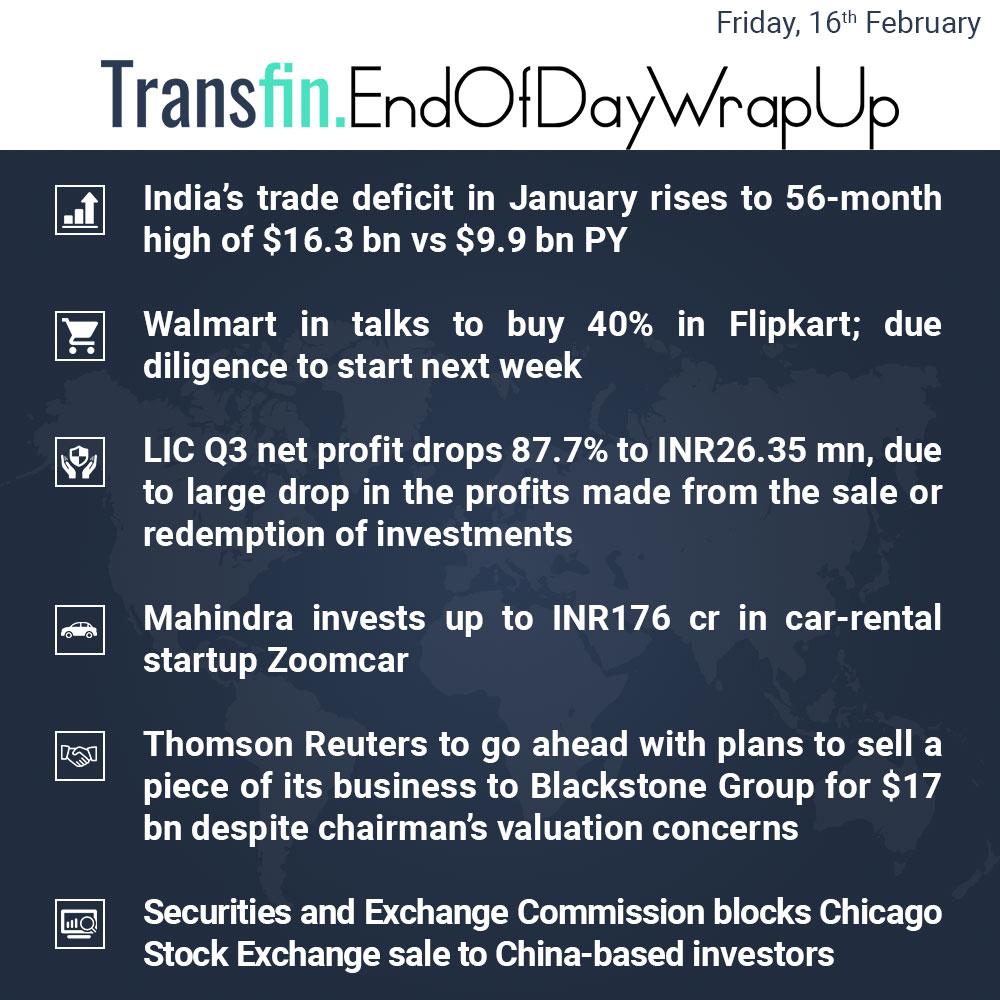 End of Day Wrap-up (Friday / February 16, 2018) #tradedeficit #Walmart #Flipkart #Amazon #LIC #Mahindra #Zoomcar #ThomasReuters #Blackstone #SEC #stocks #Transfin