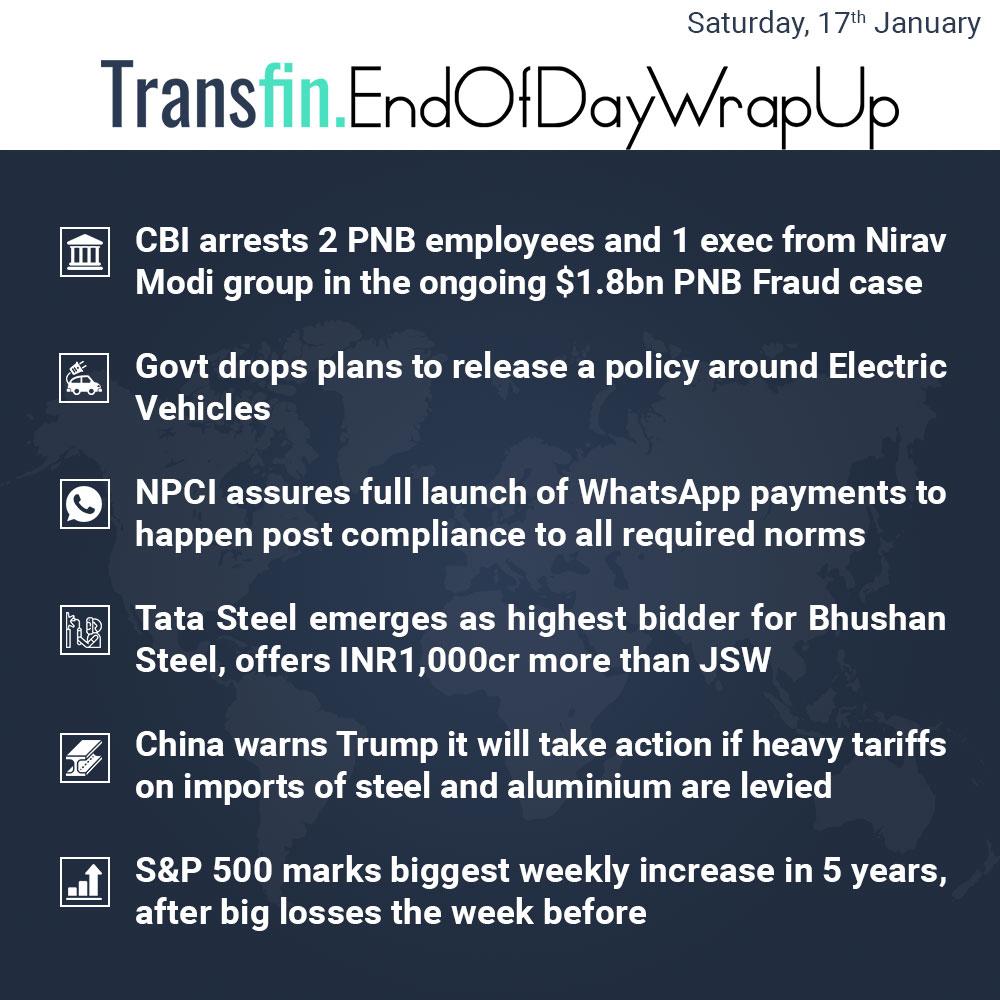 End of Day Wrap-up (Saturday / February 17, 2018) #CBI #PNB #NiravModi #SBI #AllahabadBank #ElectricVehicles #NPCI #TataSteel #JSW #BhushanSteel #stockmarket #stocks #Transfin