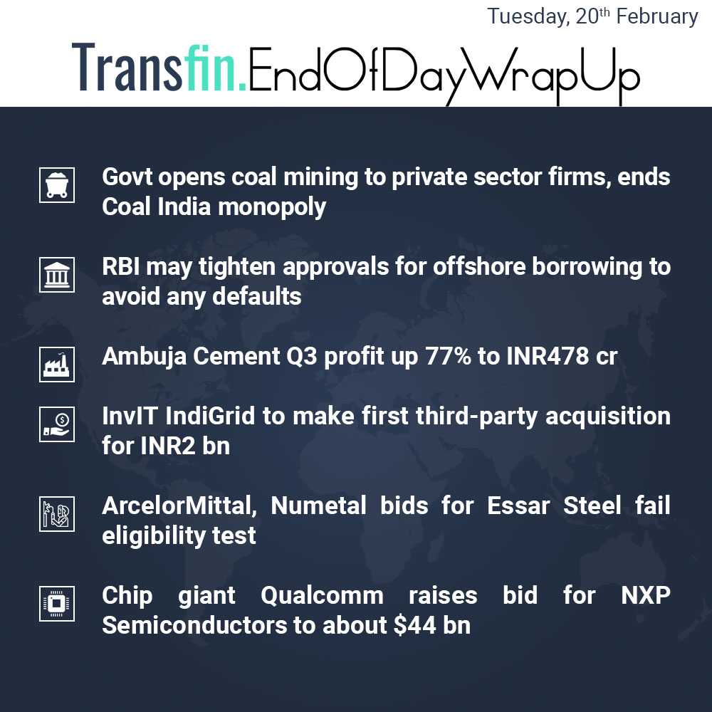 End of Day Wrap-up (Tuesday / February 20, 2018) #CoalIndia #NCLT #RBI #Essar #IBC #Ambuja #InvIT #Qualcomm #Broadcom #Transfin