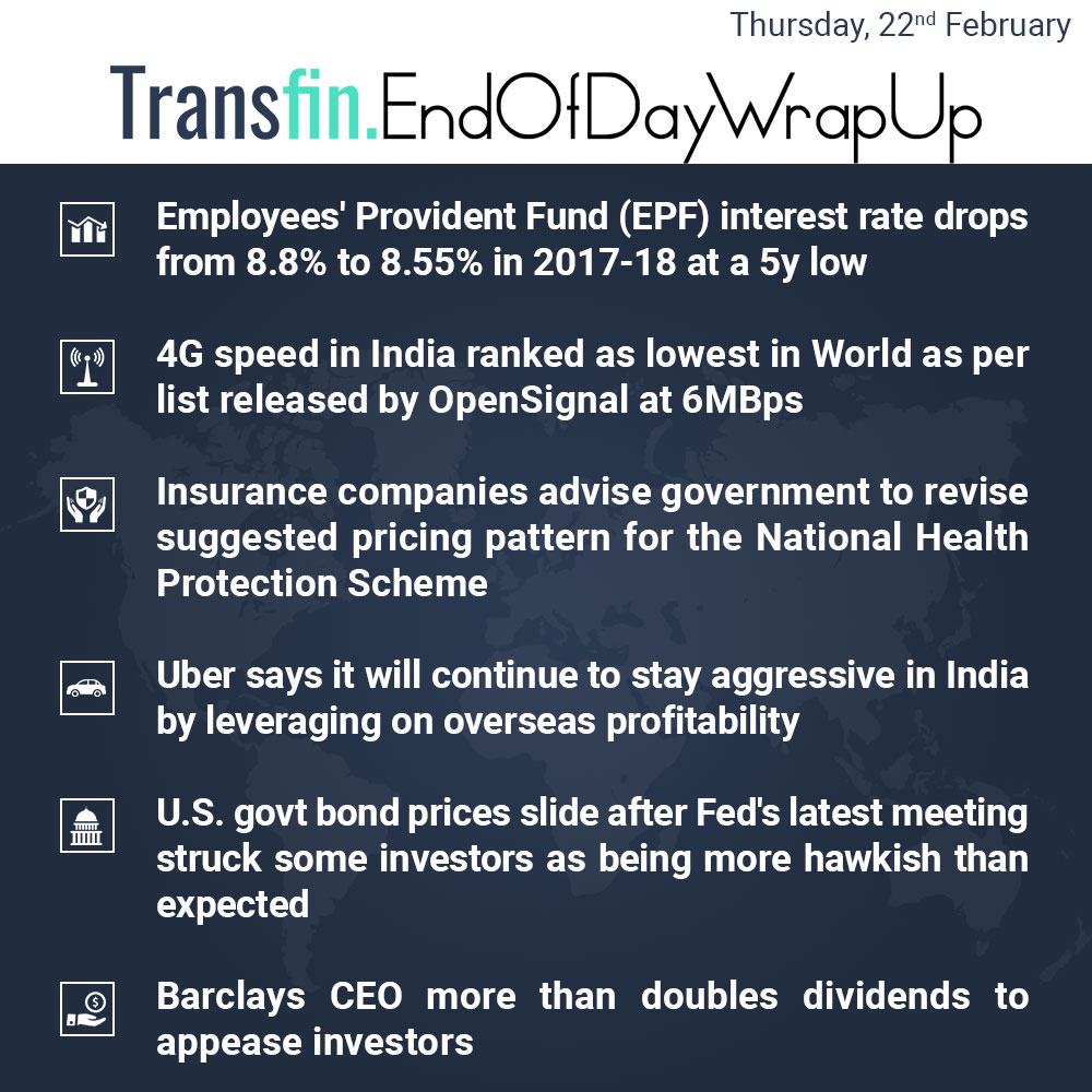 End of Day Wrap-up (Thursday / February 22, 2018) #EPF #4G #insurance #Uber #Fed #bond #Barclays #NationalHealthProtectionScheme #Transfin