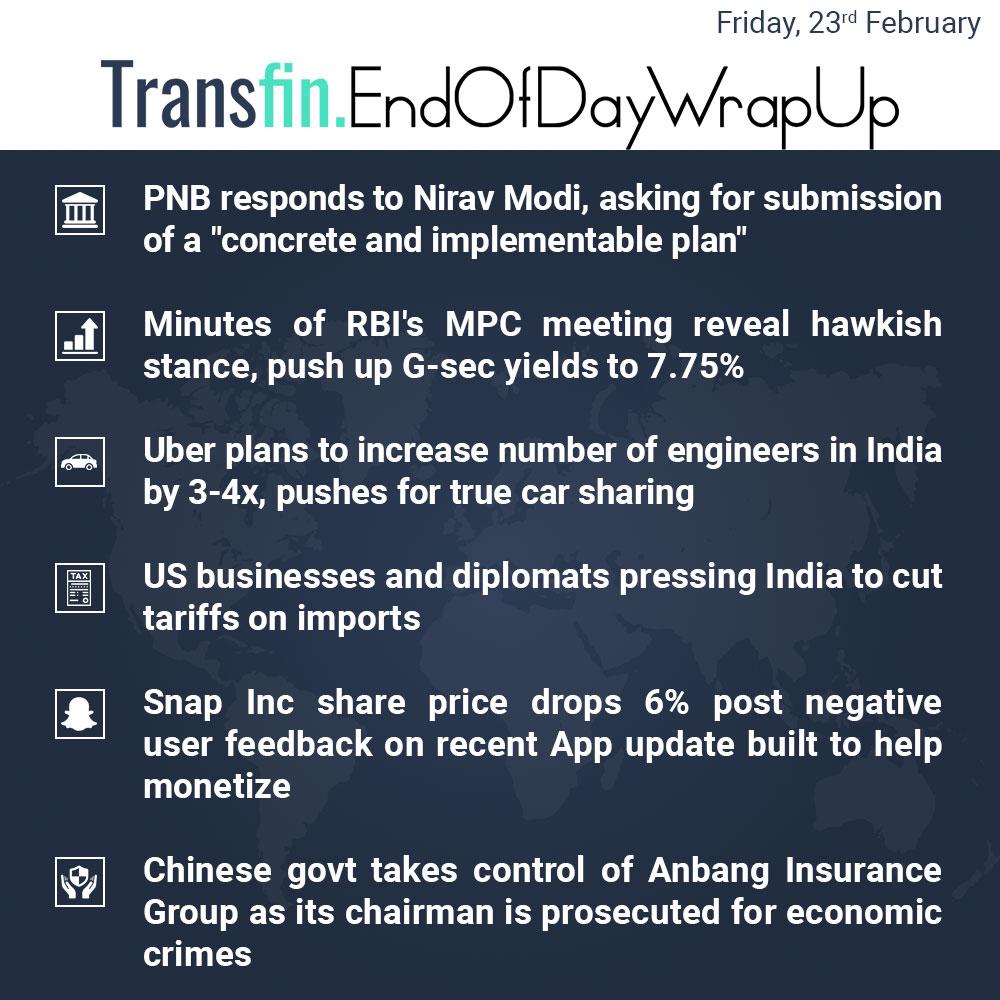 End of Day Wrap-up (Friday / February 23, 2018) #PNB #NiravModi #RBI #MPC #Uber #US #imports #Trump #Snapchat #China #insurance #Transfin
