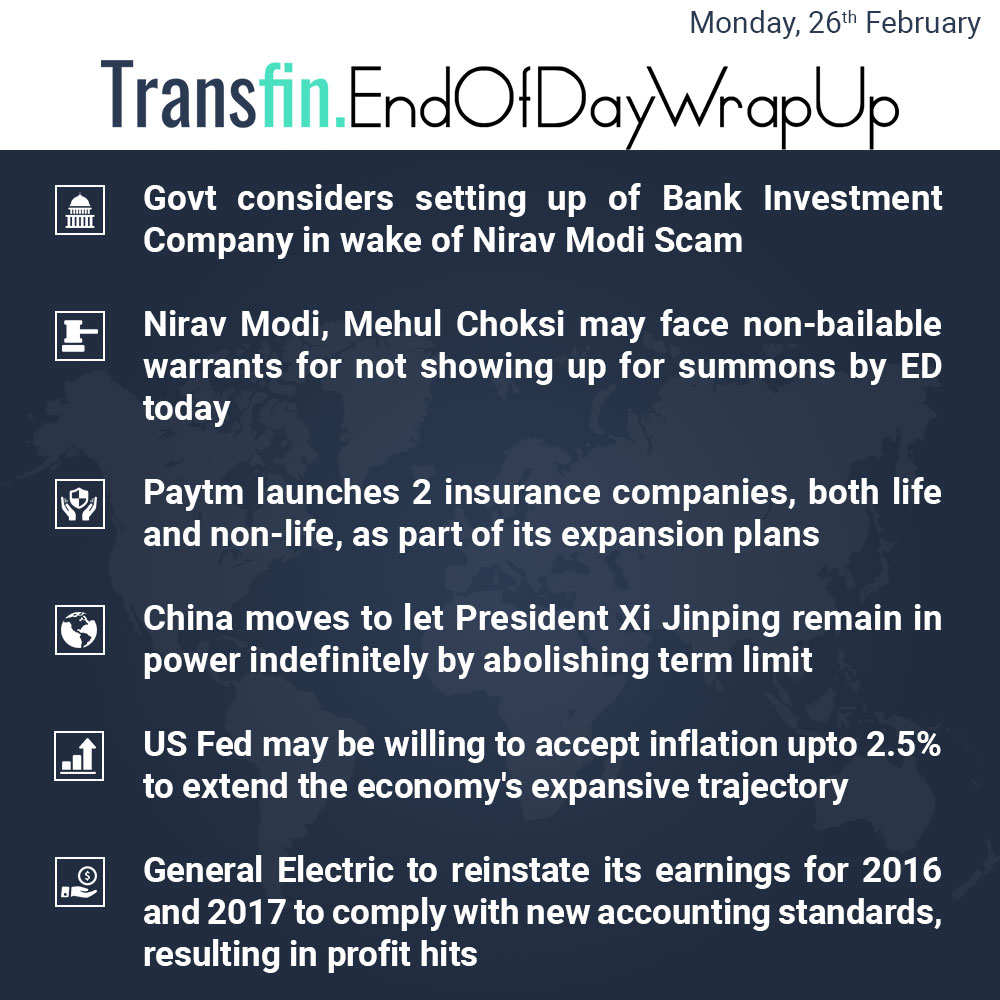 End of Day Wrap-up (Monday / February 26, 2018) #NiravModiScam #Paytm #insurance #US #Fed #GeneralElectric #Transfin