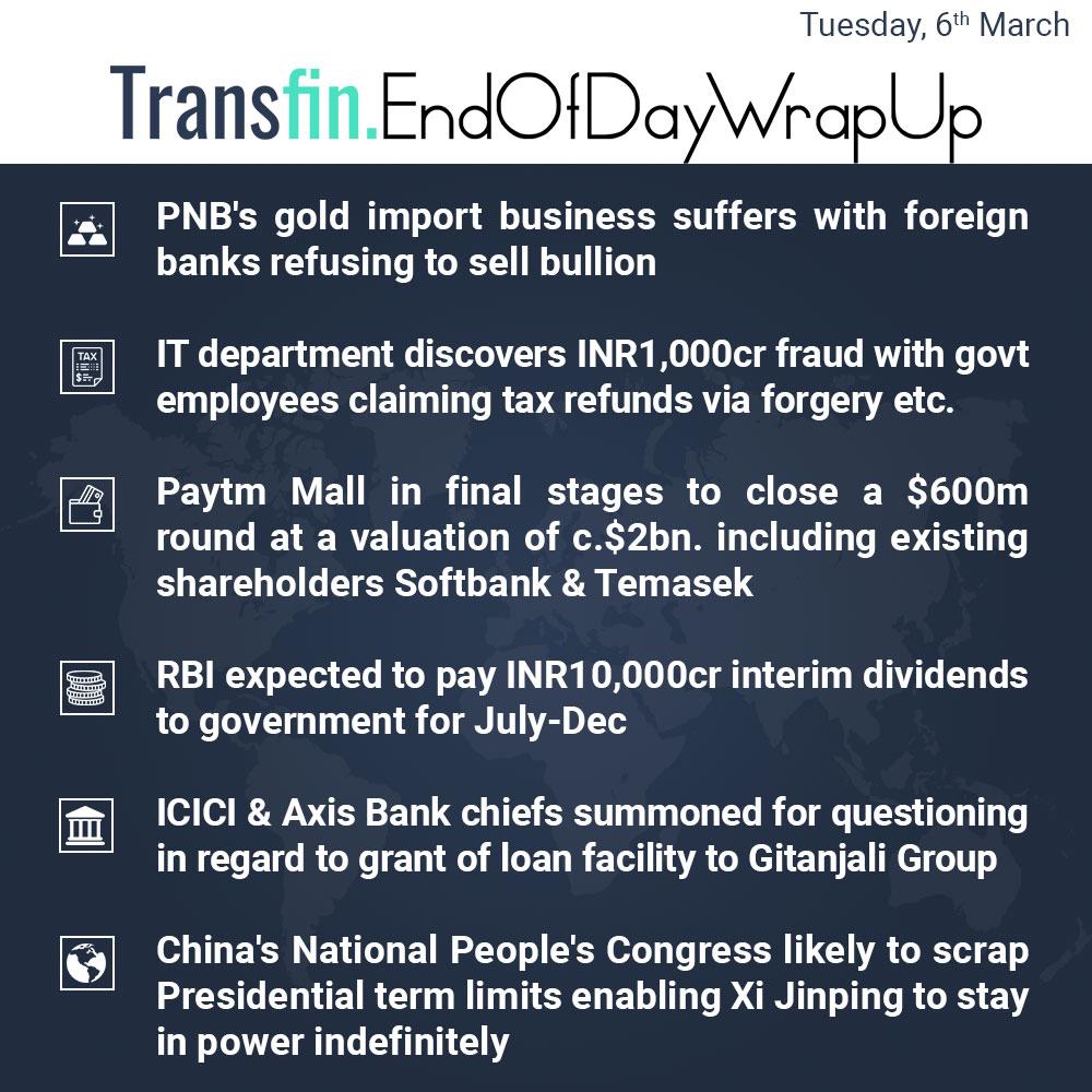 End of Day Wrap-up (Tuesday / March 06, 2018) #PNB #NiravModi #IT #Paytm #Softbank #Temasek #Primavera #RBI #ICICI #Axis #Gitanjali #Modi #China #XiJiping #Transfin