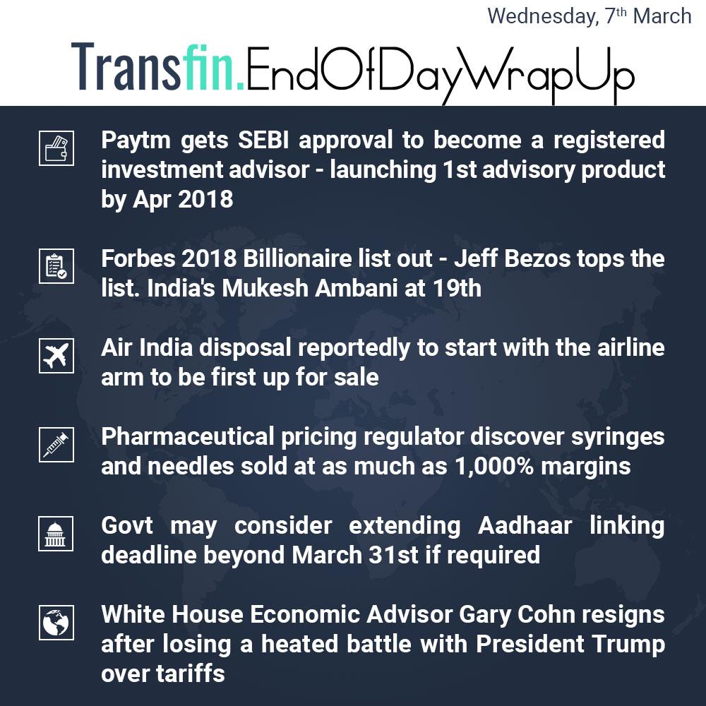 End of Day Wrap-up (Wednesday / March 07, 2018) #Paytm #SEBI #Forbes #JeffBezos #AirIndia #Pharmaceuticals #Aadhaar #tariffs #Transfin