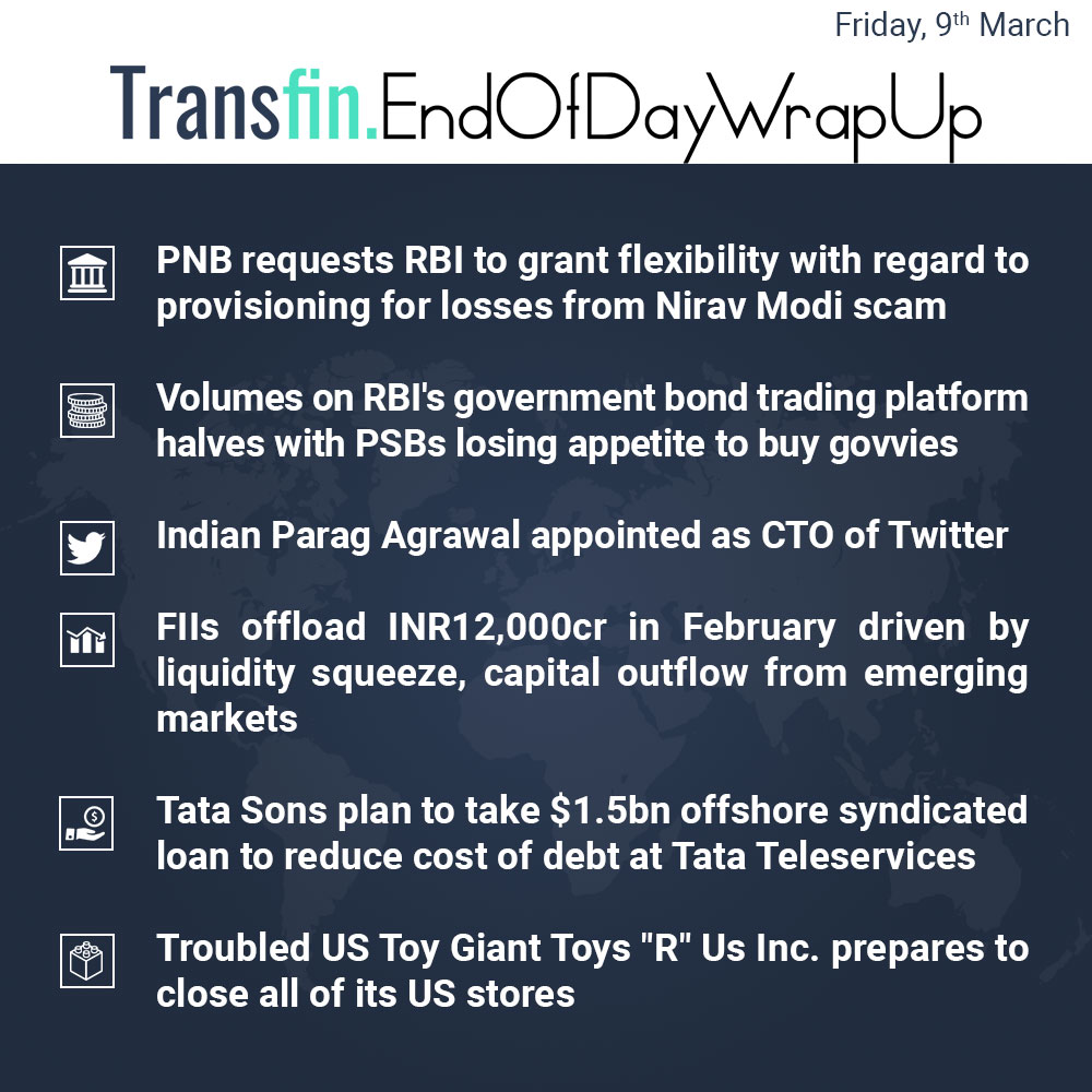End of Day Wrap-up (Friday / March 09, 2018) #Tata #PNB #RBI #NiravModi #US #Twitter #CEO #Transfin