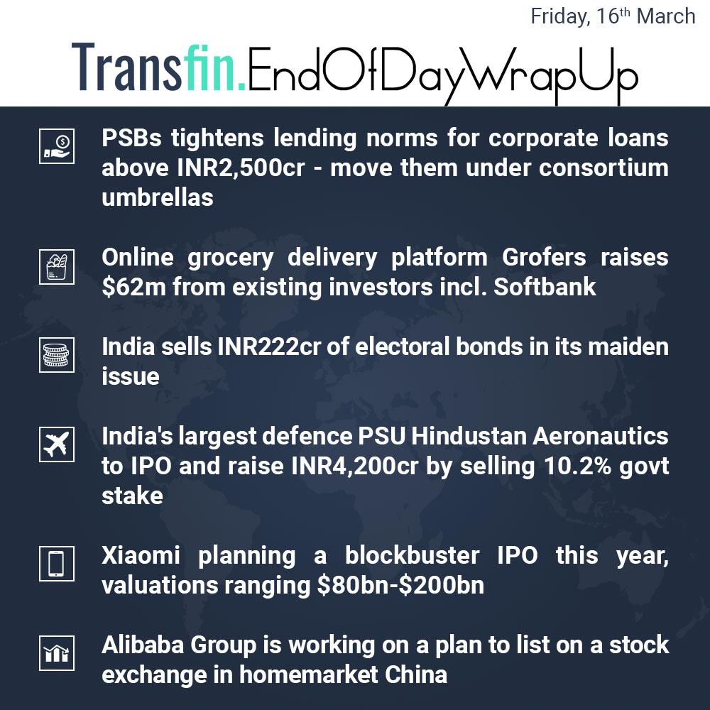 End of Day Wrap-up (Friday / March 16, 2018) #PSB #Grofers #Softbank #electoralbonds #PSU #Xiaomi #Alibaba #China #Transfin