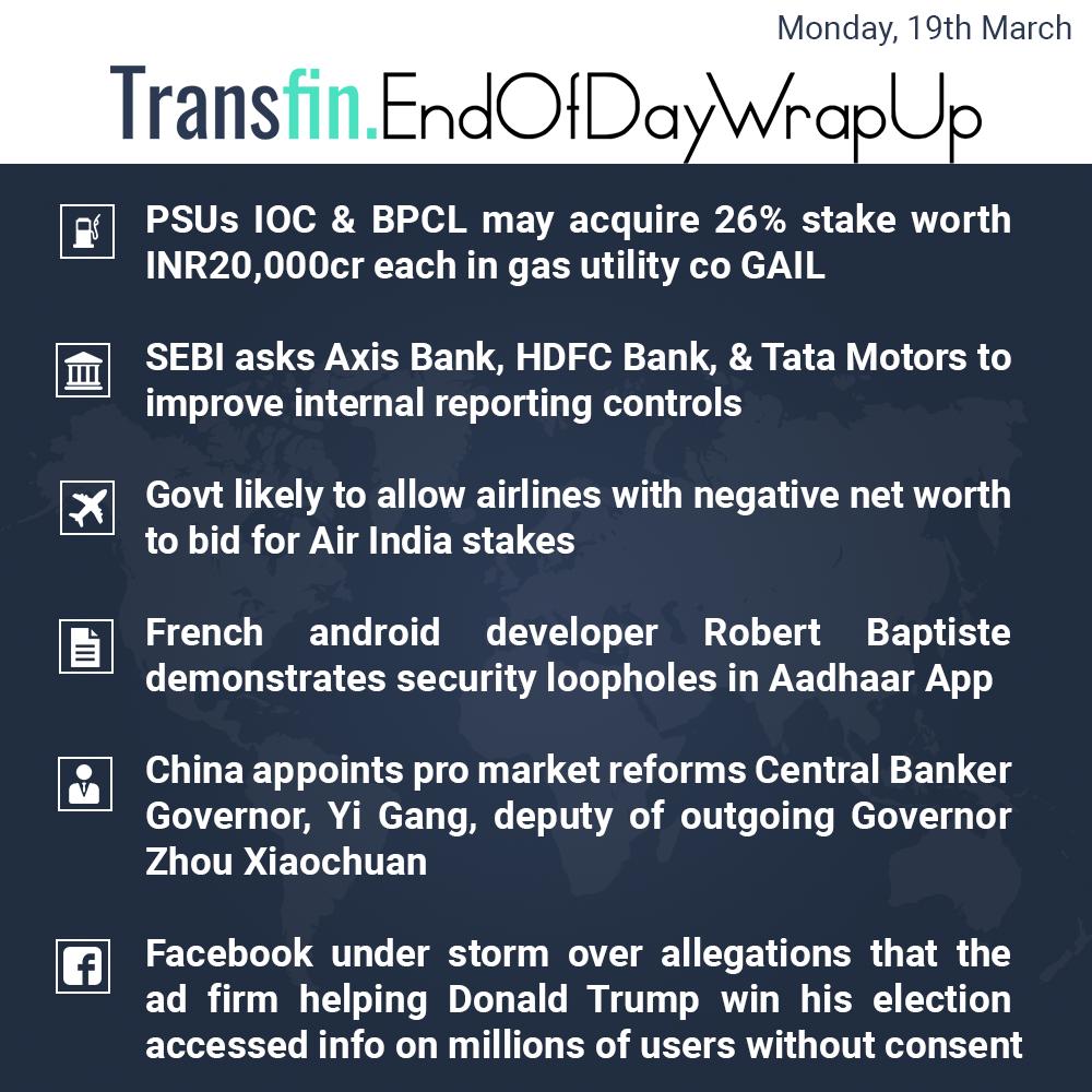 End of Day Wrap-up (Monday / March 19, 2018) #PSU #BPCL #SEBI #Axis #HDFC #Tata #AirIndia #Aadhaar #China #Facebook #DonaldTrump #Transfin