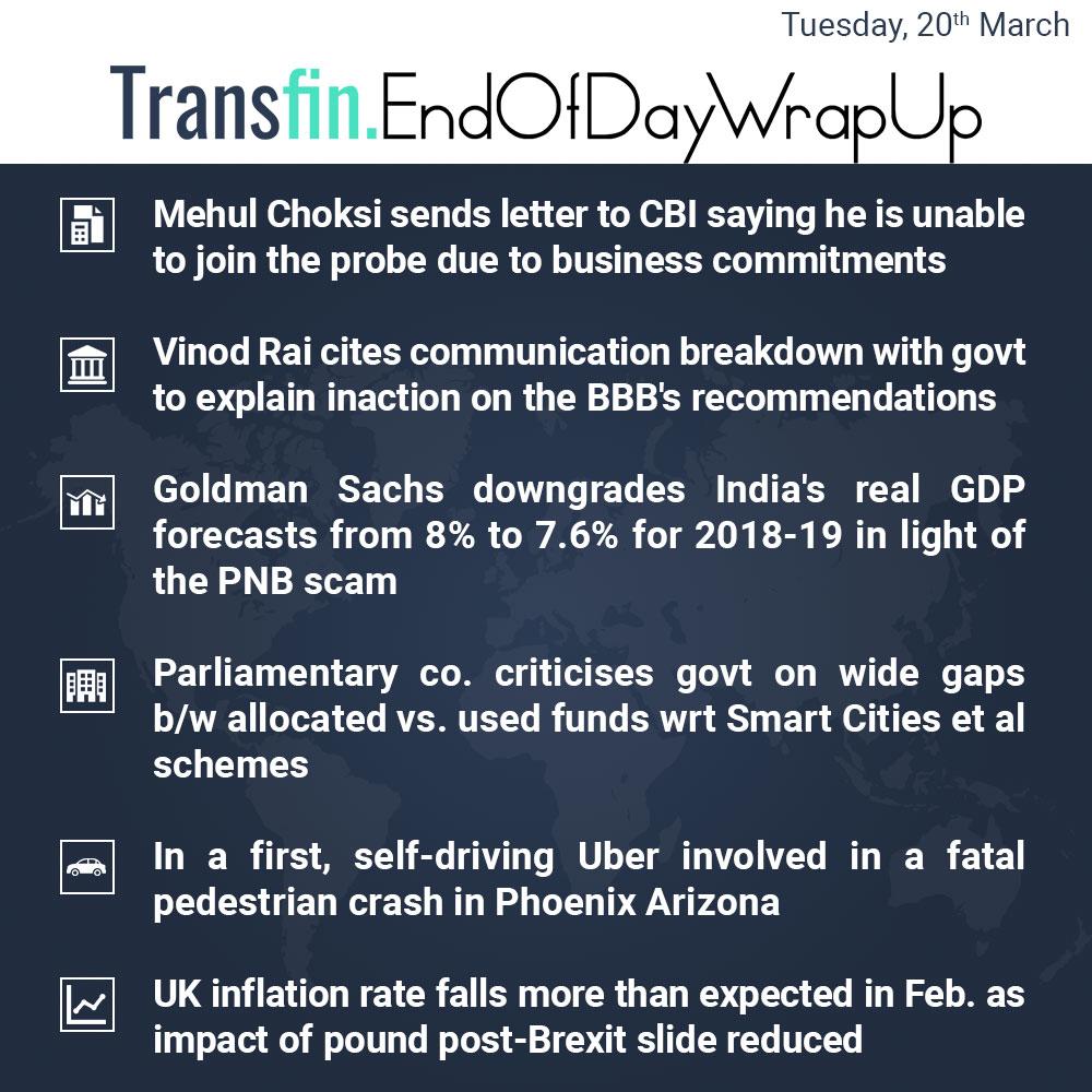 End of Day Wrap-up (Tuesday / March 20, 2018) #MehulChoksi #VinodRai #BBB #GoldmanSachs #Uber #UK #Brexit #CBI #GDP #PNBscam #NiravModi #inflation #Transfin