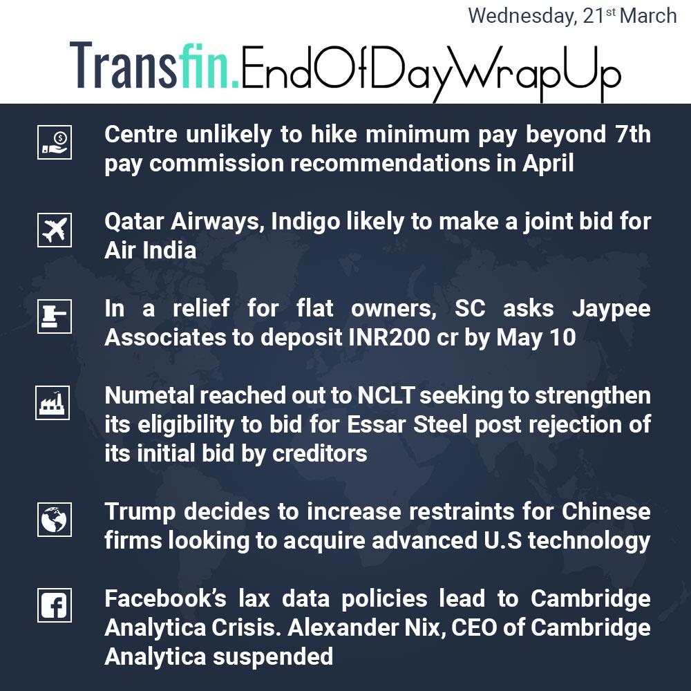 End of Day Wrap-up (Wednesday / March 21, 2018) #PayCommission #Qatar #Indigo #SC #Jaypee #Numetal #Trump #Facebook #CambridgeAnalytica #Transfin