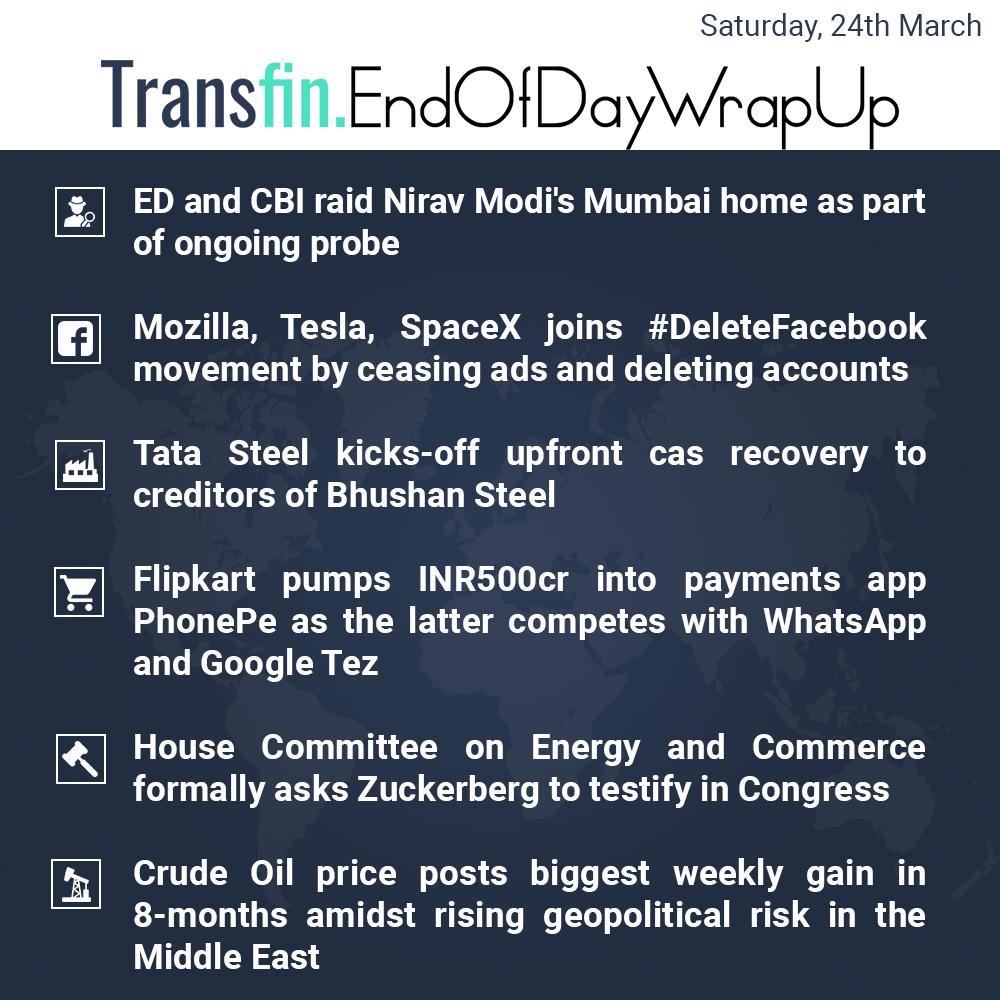 End of Day Wrap-up (Saturday / March 24, 2018) #Facebook #ED #NiravModi #PNBscam #Flipkart #Google #GoogleTez #PhonePe #crudeoil #Transfin
