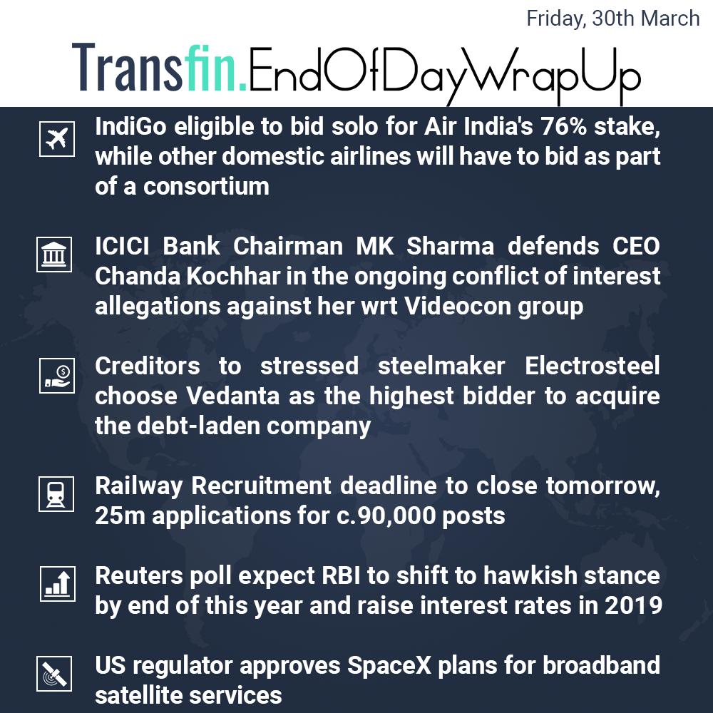 End of Day Wrap-up (Friday / March 30, 2018) #AirIndia #RBI #ICICI #ChandaKochhar #Indigo #Vedanta #railways #Reuters #US #SpaceX #Transfin