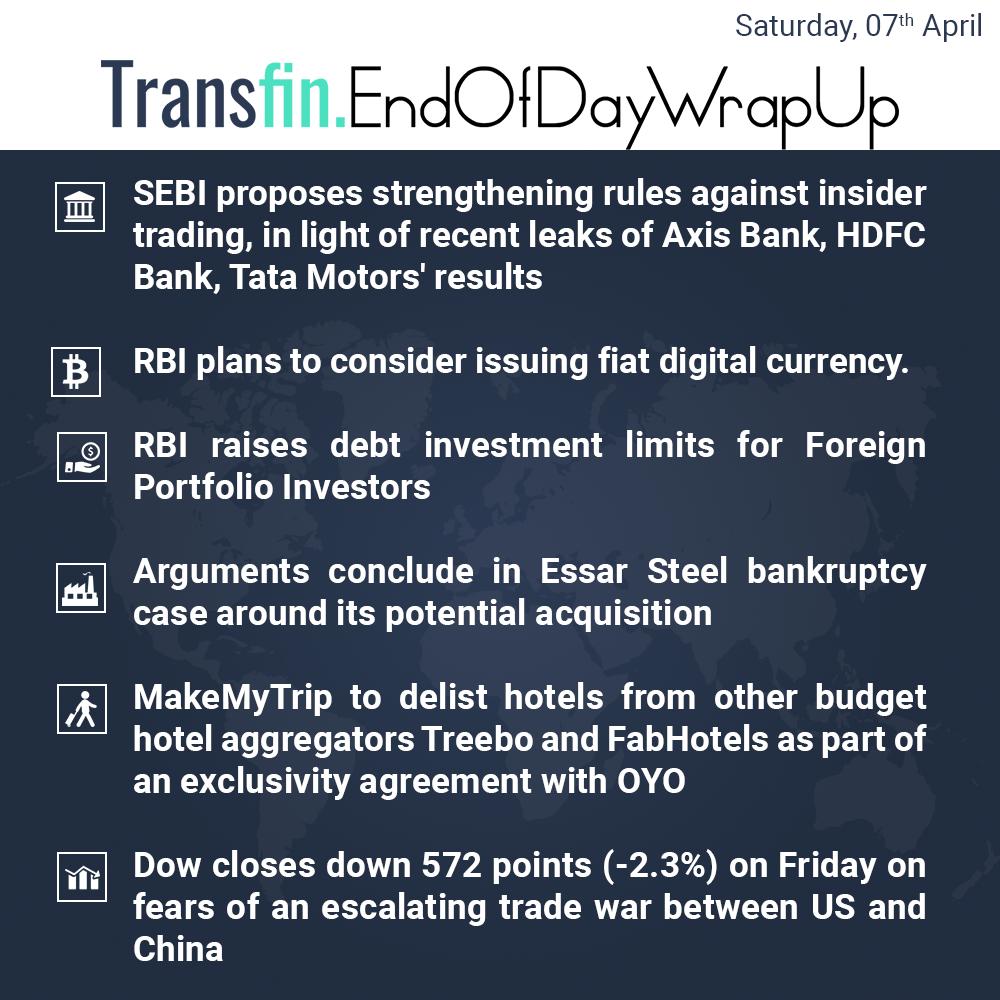 End of Day Wrap-up (Saturday / April 07, 2018) #RBI #Cryptocurrency #Blockchain #Bitcoin #Ethereum #Ripple #SEBI #debt #Essar #NCLT #MakeMyTrip #sensex #tradewars #US #China #Transfin