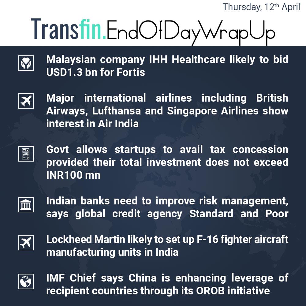 End of Day Wrap-up (Thursday / April 12, 2018) #healthcare #Fortis #BritishAirways #Lufthansa #SingaporeAirlines #AirIndia #tax #startup #IMF #ChristineLagarde #Transfin