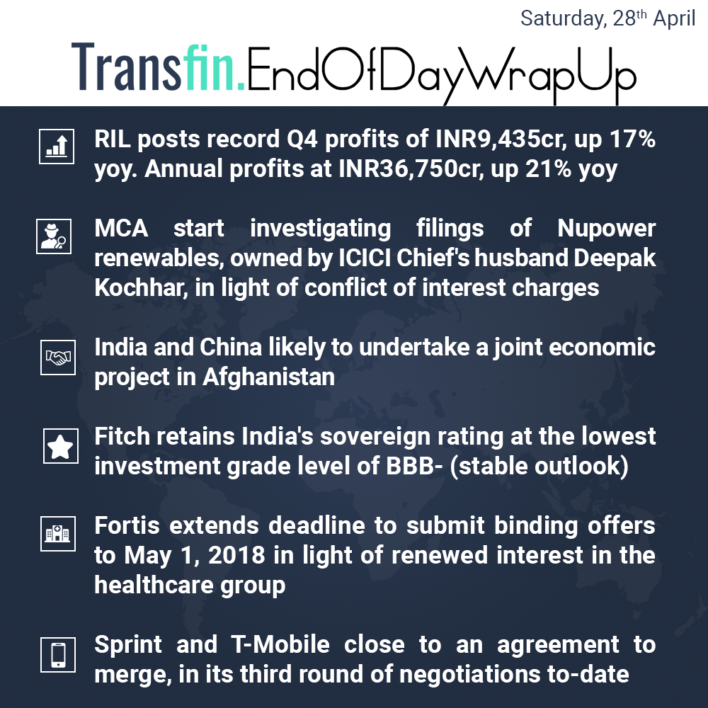 End of Day Wrap-up (Saturday / April 28, 2018) #RIL #India #China #Afghanistan #Fintech #Fortis #Sprint #healthcare #Transfin