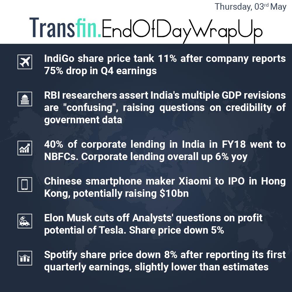 End of Day Wrap-up (Thursday / May 03, 2018) #Indigo #RBI #NBFC #GDP #ElonMusk #Tesla #China #Xiaomi #smartphone #Spotify #Transfin