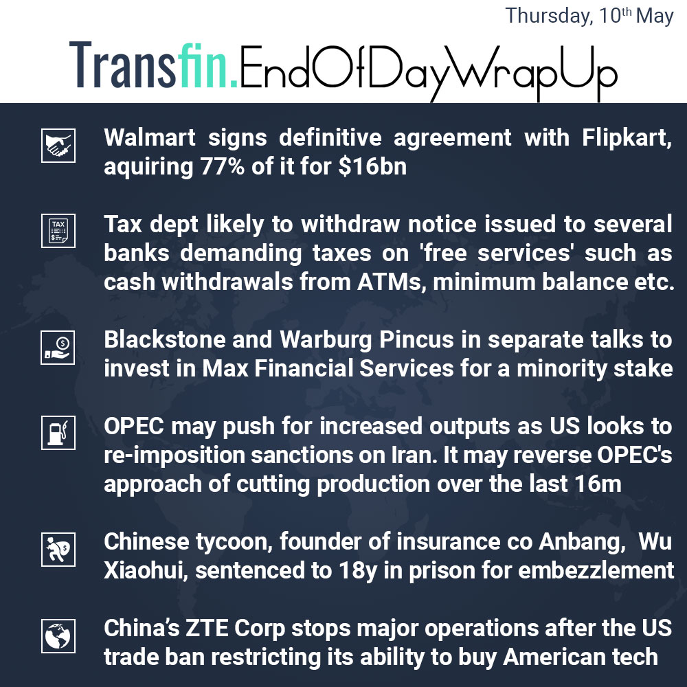 End of Day Wrap-up (Thursday / May 10, 2018) #Walmart #Flipkart #Tax #ATM #Blackstone #WarburgPincus #OPEC #Anbang #WuXiaohui #US #Trade #US #Transfin