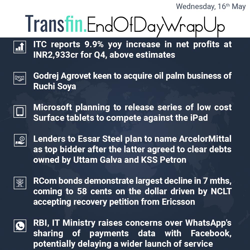 End of Day Wrap-up (Wednesday / May 16, 2018) #ITC #Godrej #RuchiSoya #NCLT #Microsoft #iPad #Apple #Essar #ArcelorMittal #RCom #RBI #IT #WhatsApp #Facebook #CambridgeAnalytica #Transfin