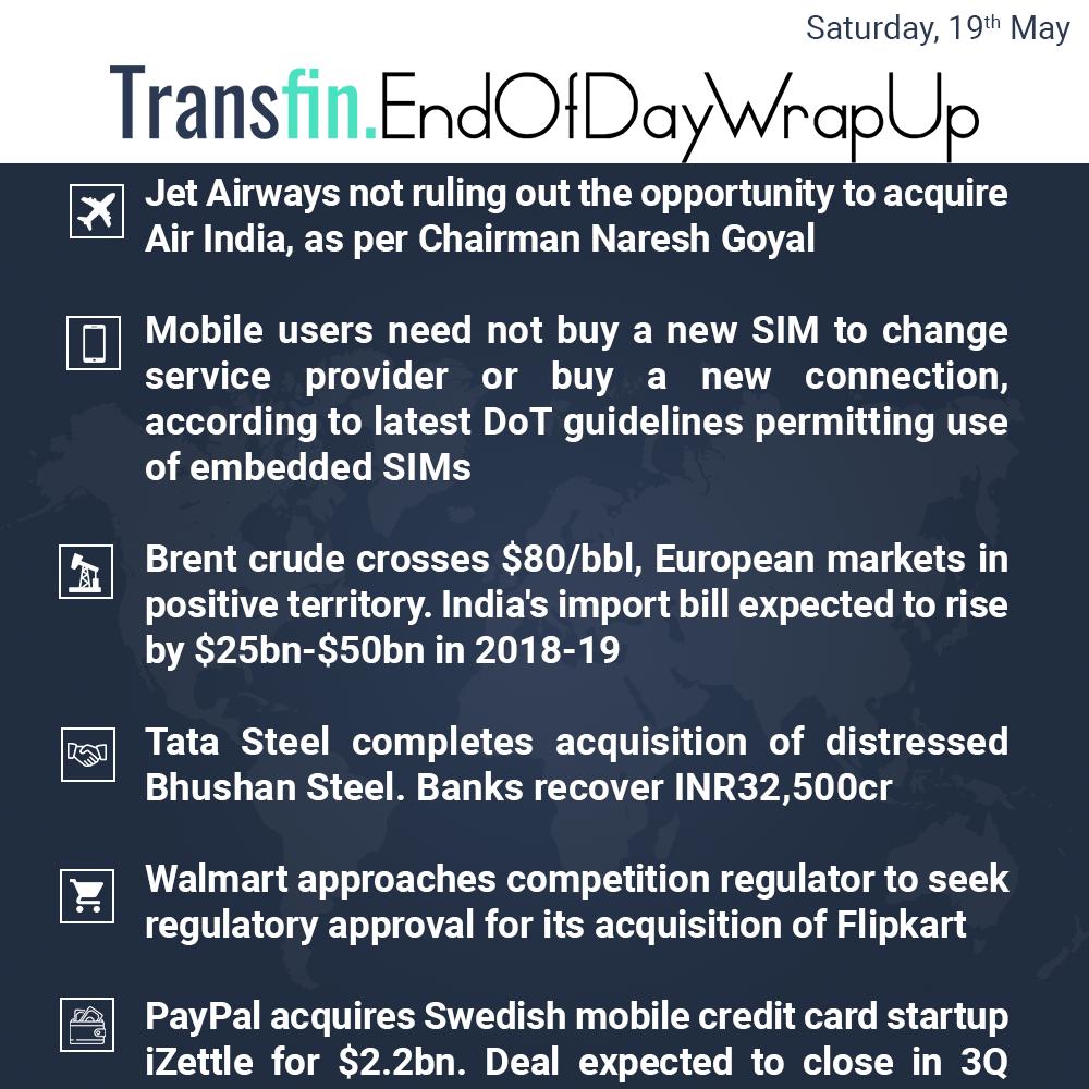 End of Day Wrap-up (Saturday / May 19, 2018) #JetAirways #AirIndia #BrentCrude #CrudeOil #TataSky #BhushanSteel #Walmart #Paypal #Transfin