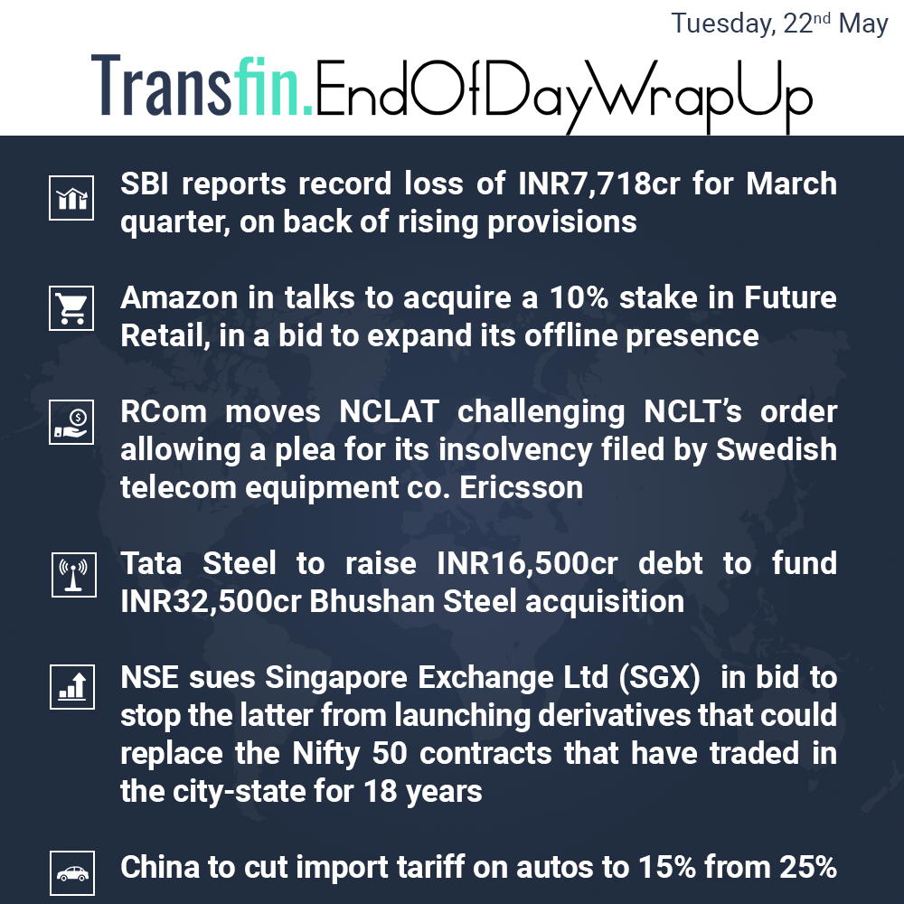 End of Day Wrap-up (Tuesday / May 22, 2018) #SBI #Amazon #RCom #NCLAT #NCLT #TataSteel #Bhushan #China #US #NSE #Transfin