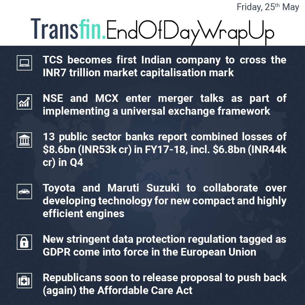 TCS crosses INR7tr market cap, Indian Banks post losses et al.