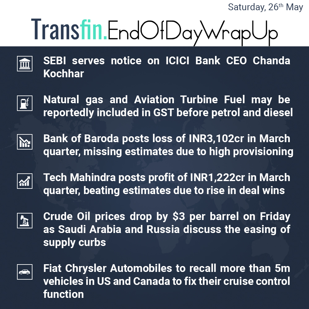 SEBI serves Chanda Kochhar, Saudi Arabia eases Oil cuts et al.