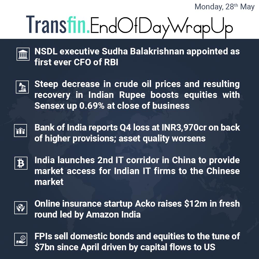 End of Day Wrap-up (Monday / May 28, 2018) #SudhaBalakrishnan #CFO #RBI #crudeoil #Sensex #China #IT #Acko #Amazon #FPI #Transfin