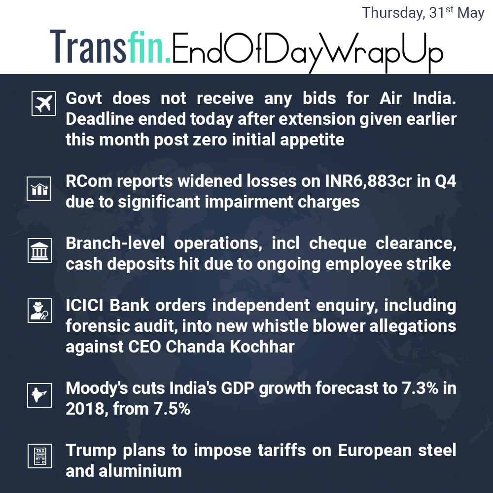 End of Day Wrap-up (Thursday / May 31, 2018) #AirIndia #RCom #ICICI #ChandaKochar #Moodys #GDP #India #Trump #steel #aluminium #Transfin