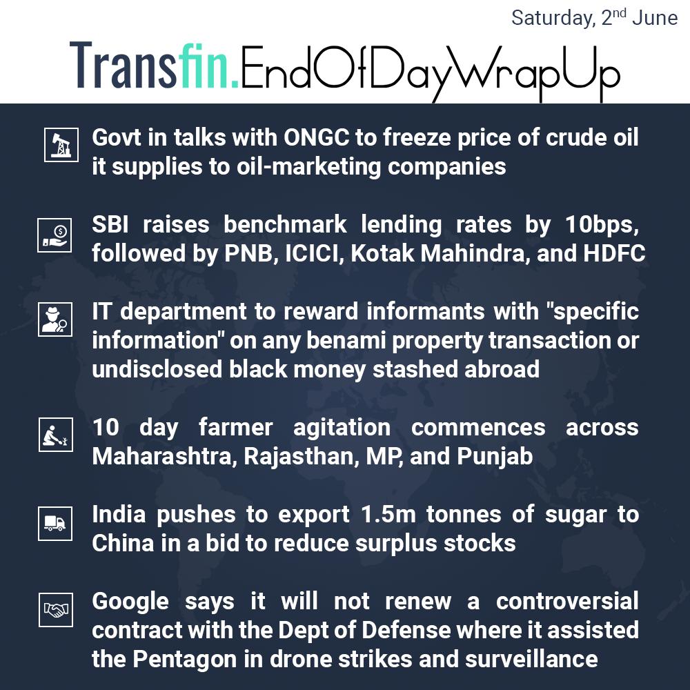 End of Day Wrap-up (Saturday / June 02, 2018) #ONGC #Oil #SBI #PNB #ICICI #KotakMahindra #HDFC #Maharashtra #Punjab #MadhyaPradesh #Google #Pentagon #Transfin