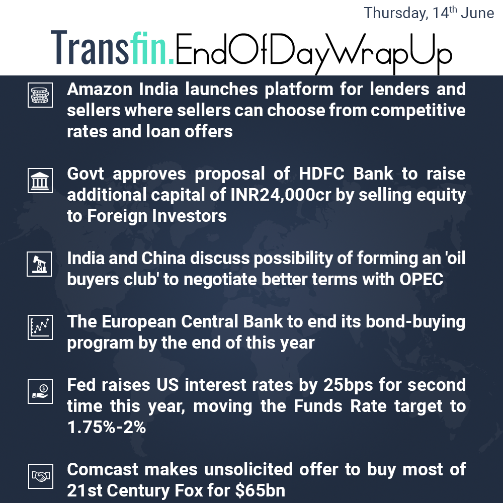 End of Day Wrap-up (Thursday / June 14, 2018) #Amazon #HDFC #FDI #OPEC #Fed #US #interestrates #Comcast #Fox #Transfin