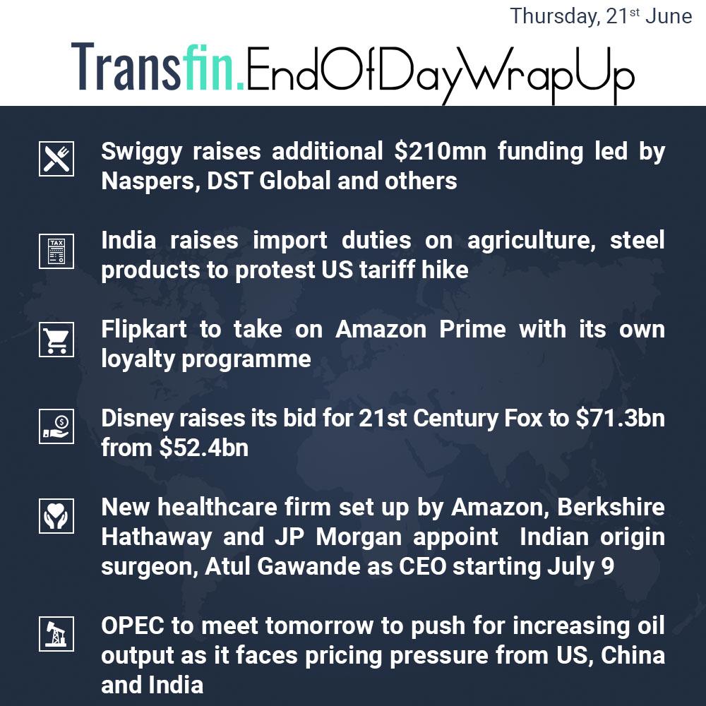 End of Day Wrap-up (Thursday / June 21, 2018) #Swiggy #Naspers #Flipkart #Amazon #AmazonPrime #Disney #healthcare #JPMorgan #OPEC #US #India #China #Transfin