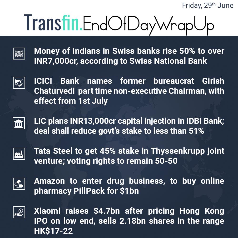 End of Day Wrap-up (Friday / June 29, 2018) #Rupee #India #SwissBank #ICICIBank #GirishChaturvedi #LIC #IDBIBank #TataSteel #ThyssenKrupp #Amazon #healthcare #Xiaomi #IPO #HongKong #Transfin