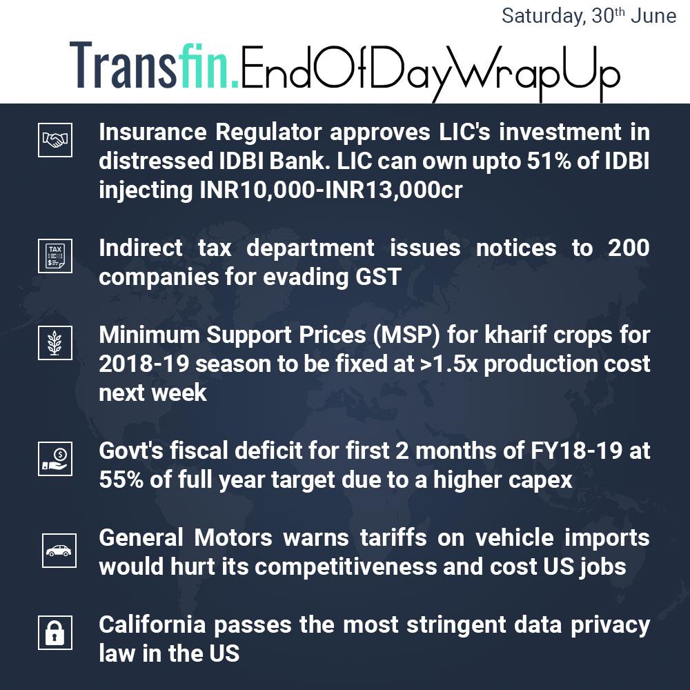 End of Day Wrap-up (Saturday / June 30, 2018) #IRDAI #LIC #IDBI #tax #GST #MSP #kharif #GeneralMotors #California #dataprivacy #GDPR #US #Transfin