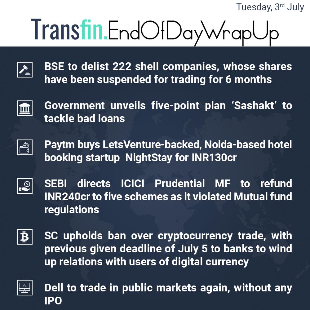 End of Week Wrap-up (Tuesday / July 03, 2018) #BSE #Sashakt #badloans #NPA #Paytm #SEBI #ICICI #MutualFunds #SC #cryptocurrency #Bitcoin #blockchain #Ripple #cryptocurrencynews #Dell #IPO #Transfin