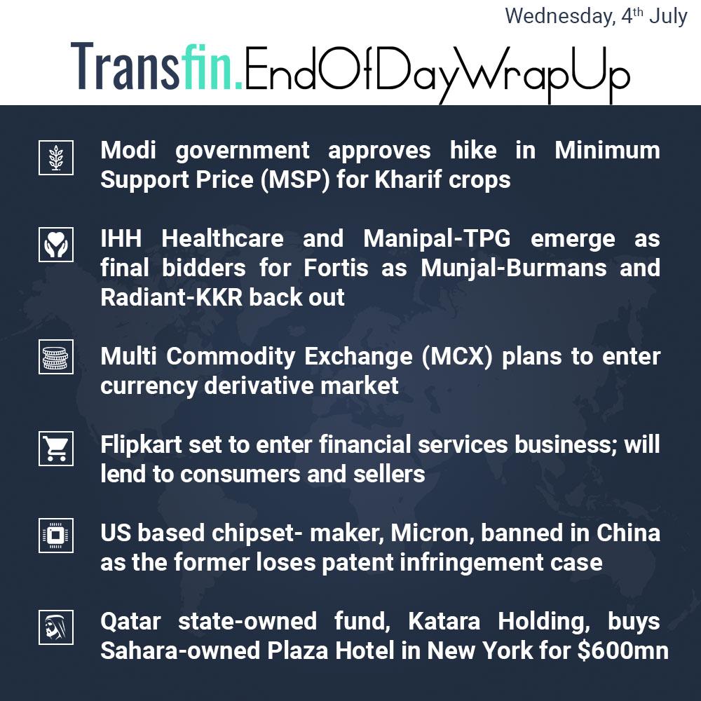 End of Week Wrap-up (Wednesday / July 04, 2018) #MSP #Kharifcrops #IHH #Healthcare #ManipalTPG #Fortis #MunjalBurman #RadiantKKR #MCX #Flipkart #US #Micron #Qatar #KataraHoldings #Sahara #PlazaHotel #NewYork #Transfin
