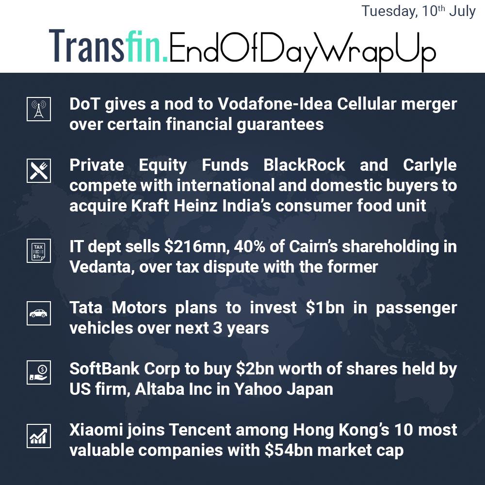 End of Day Wrap-up (Tuesday / July 10, 2018) #DoT #Vodafone #Idea #PrivateEquity #KraftHeinz #IT #Cairn #TataMotors #SoftBank #Altaba #Xiaomi #Tencent #HongKong #Transfin