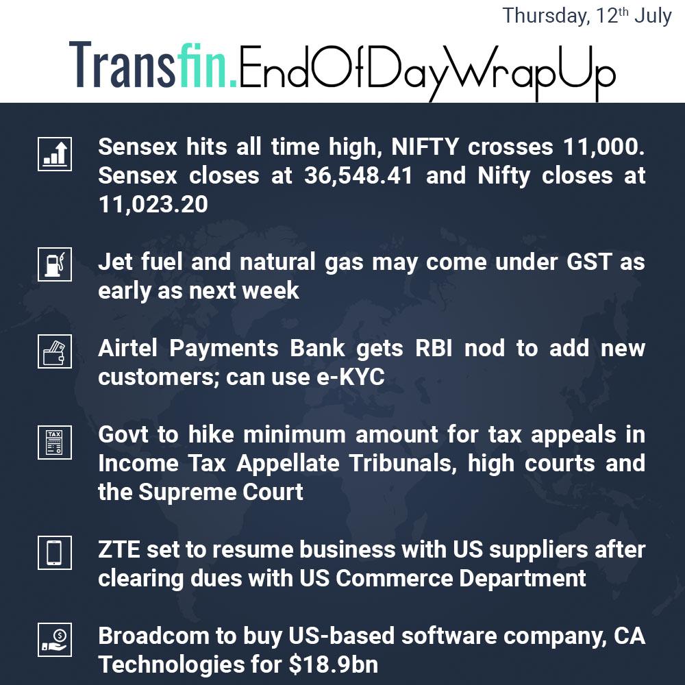End of Day Wrap-up (Thursday / July 12, 2018) #Sensex #Nifty #GST #Airtel #tax #ZTE #US #NaturalGas #WhatsApp #Paytm #Transfin