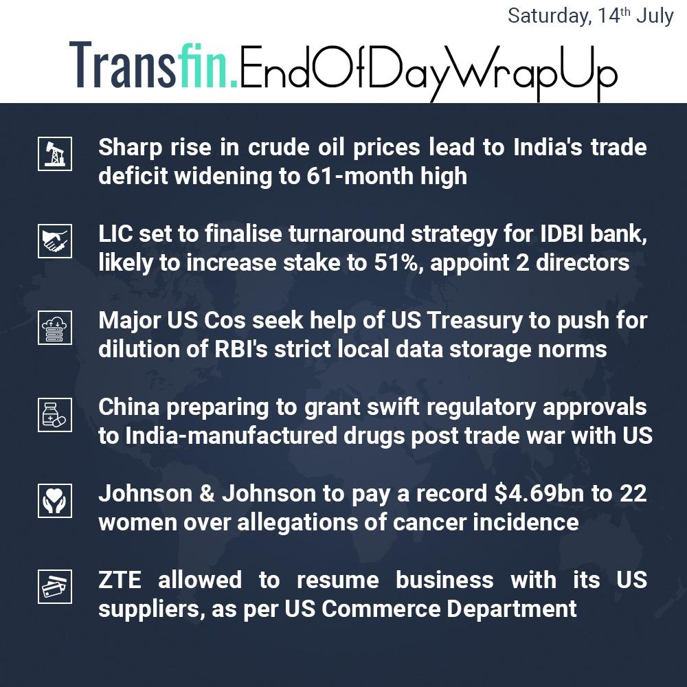 End of Day Wrap-up (Saturday / July 14, 2018) #CrudeOil #oilandgas #ZTE #LIC #IDBI #TRAI #TradeWar #Transfin 