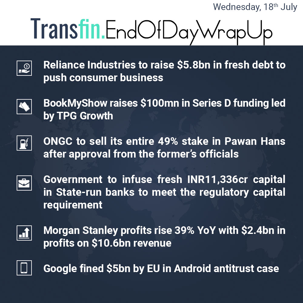 End of Day Wrap-up (Wednesday / July 18, 2018) #Reliance #RIL #BookMyShow #TPGGrowth #ONGC #PawanHans #PSB #banks #MorganStanley #Google #Android #EU #Transfin