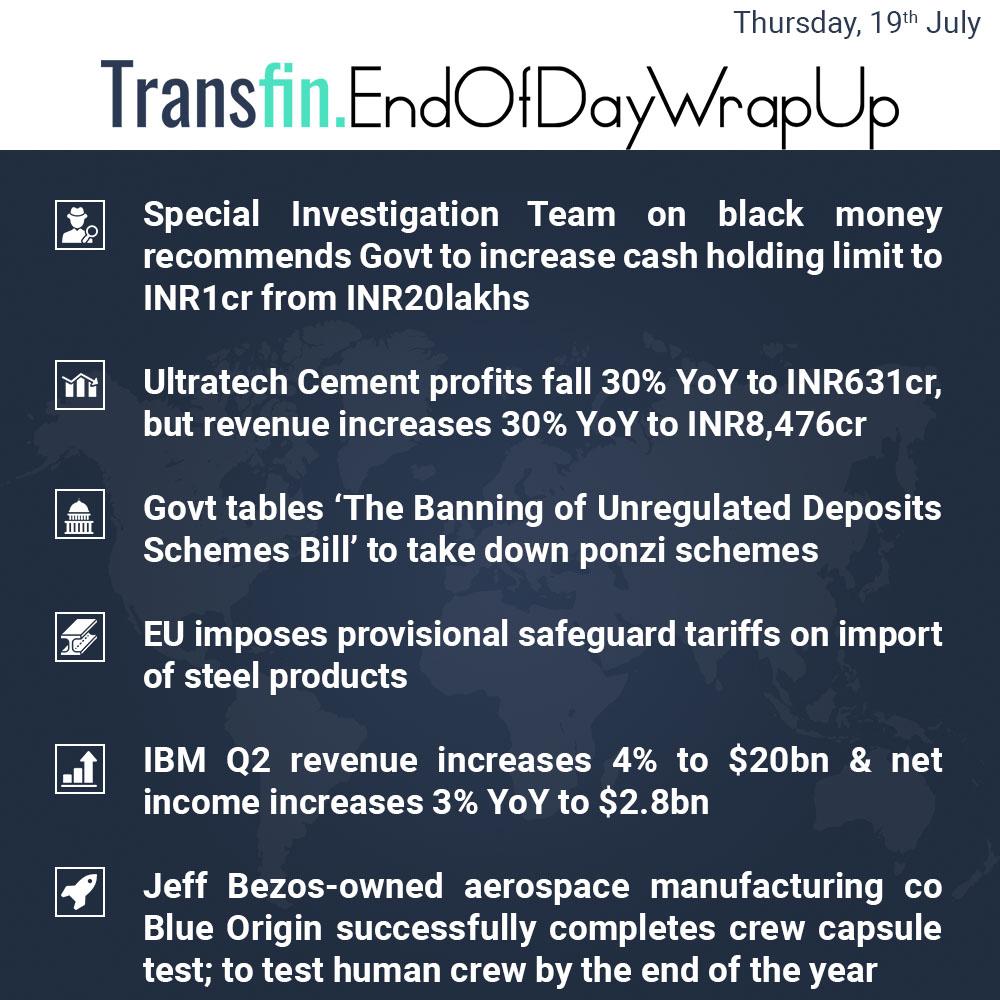 End of Day Wrap-up (Thursday / July 19, 2018) #blackmoney #demonetisation #UltraTechCement #IBM #revenue #profit #EU #tariff #tax #Transfin